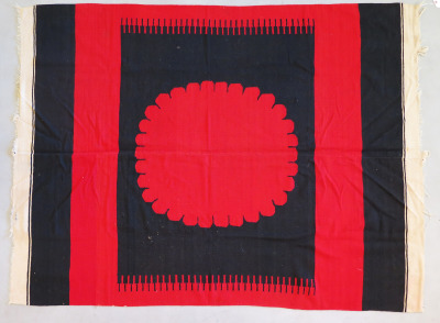 Mexican Two-Panel Rug with Big Red Circle, c.1900