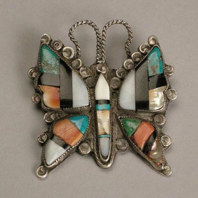 Zuni Butteryfly Pin, Trusdell Collection