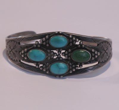 Four Stone Stamped Bracelet