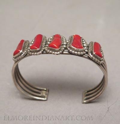 Navajo 5 Stone Coral and Silver Bracelet
