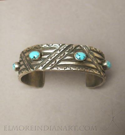 Contemporary Navajo Sandcast Silver Bracelet