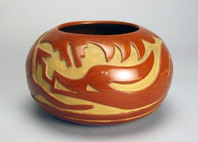 Santa Clara Pottery Santa Clara Carved Redware Jar By