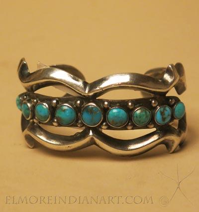 Navajo Nine Stone Sandcast Bracelet, c.1930