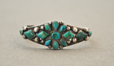 Delicate Navajo Silver Bracelet with Great Stones and Silver Work, c.1925-35