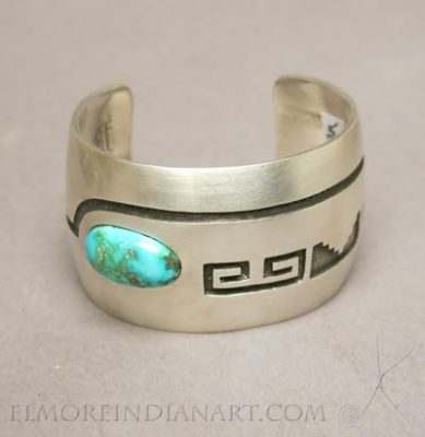 Hopi Overlay Cuff With Turquoise by Manuel & Karen Hoyungowa