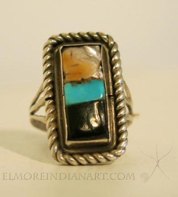 Inlay Ring with Three Stones