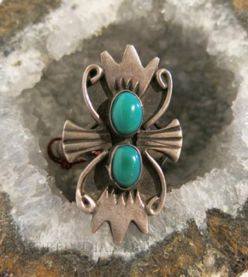 Silver Ring with Two Turquoise Stones