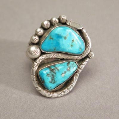 Navajo Two Stone Snake Ring