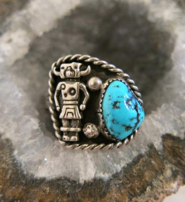 Silver Ring with Turquoise and Kachina Figure
