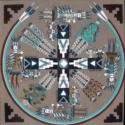 native american fine art navajo sandpainting signed