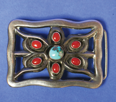 Navajo Sandcast Buckle With Turquoise and Coral